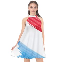 Tricolor Banner Watercolor Painting Art Halter Neckline Chiffon Dress  by picsaspassion
