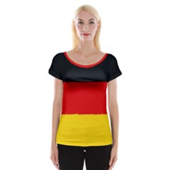 German Flag, Banner Deutschland, Watercolor Painting Art Cap Sleeve Tops by picsaspassion
