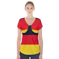 German Flag, Banner Deutschland, Watercolor Painting Art Short Sleeve Front Detail Top by picsaspassion