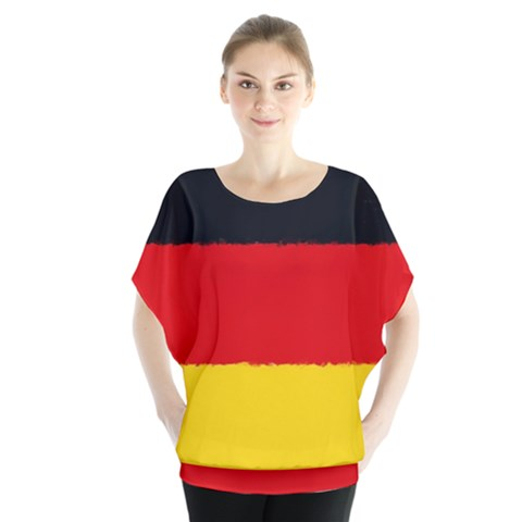 German Flag, Banner Deutschland, Watercolor Painting Art Blouse by picsaspassion