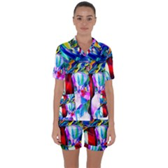 Abstract Acryl Art Satin Short Sleeve Pyjamas Set by tarastyle