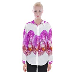 Lilac Phalaenopsis Flower, Floral Oil Painting Art Womens Long Sleeve Shirt by picsaspassion