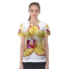 Yellow Phalaenopsis Flower, Floral Aquarel Watercolor Painting Art Women s Sport Mesh Tee