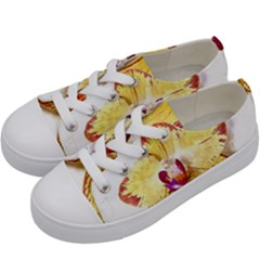 Yellow Phalaenopsis Flower, Floral Aquarel Watercolor Painting Art Kids  Low Top Canvas Sneakers by picsaspassion