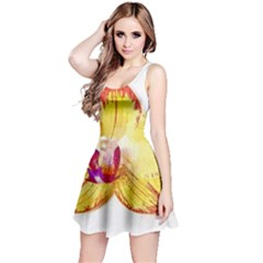 Phalaenopsis Yellow Flower, Floral Oil Painting Art Reversible Sleeveless Dress
