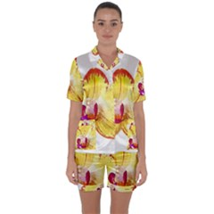 Phalaenopsis Yellow Flower, Floral Oil Painting Art Satin Short Sleeve Pyjamas Set by picsaspassion