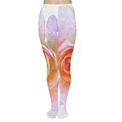 Pink Rose Flower, Floral Oil Painting Art Women s Tights by picsaspassion