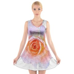 Pink Rose Flower, Floral Oil Painting Art V-neck Sleeveless Skater Dress by picsaspassion