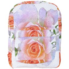 Pink Rose Flower, Floral Oil Painting Art Full Print Backpack