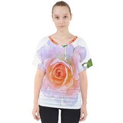 Pink Rose Flower, Floral Oil Painting Art V Neck Dolman Drape Top by picsaspassion