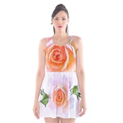 Pink Rose Flower, Floral Watercolor Aquarel Painting Art Scoop Neck Skater Dress