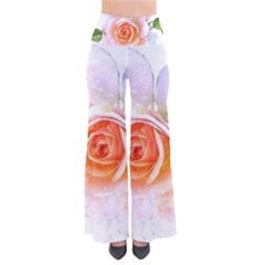 Pink Rose Flower, Floral Watercolor Aquarel Painting Art Pants by picsaspassion