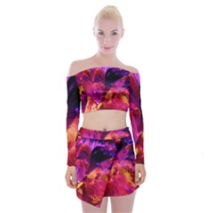 Abstract Acryl Art Off Shoulder Top With Mini Skirt Set