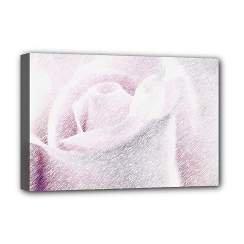 Rose Pink Flower  Floral Pencil Drawing Art Deluxe Canvas 18  X 12