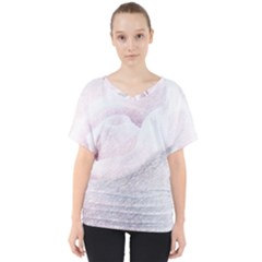 Rose Pink Flower  Floral Pencil Drawing Art V Neck Dolman Drape Top by picsaspassion