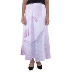 Rose Pink Flower  Floral Pencil Drawing Art Flared Maxi Skirt by picsaspassion