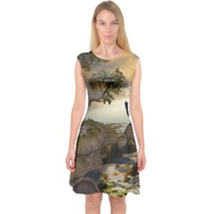 The Lonely Wolf On The Flying Rock Capsleeve Midi Dress by FantasyWorld7