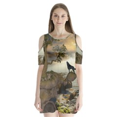 The Lonely Wolf On The Flying Rock Shoulder Cutout Velvet One Piece by FantasyWorld7
