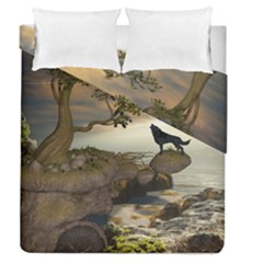 The Lonely Wolf On The Flying Rock Duvet Cover Double Side (queen Size) by FantasyWorld7