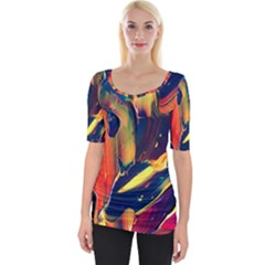 Abstract Acryl Art Wide Neckline Tee by tarastyle