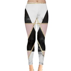 Triangles,gold,black,pink,marbles,collage,modern,trendy,cute,decorative, Leggings  by 8fugoso