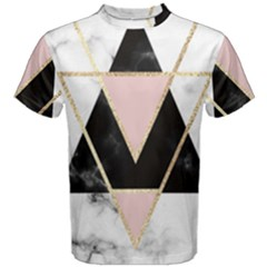 Triangles,gold,black,pink,marbles,collage,modern,trendy,cute,decorative, Men s Cotton Tee by 8fugoso