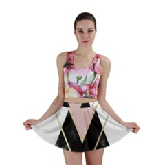 Triangles,gold,black,pink,marbles,collage,modern,trendy,cute,decorative, Mini Skirt by 8fugoso
