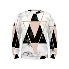 Triangles,gold,black,pink,marbles,collage,modern,trendy,cute,decorative, Kids  Sweatshirt by 8fugoso