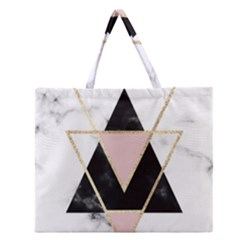 Triangles,gold,black,pink,marbles,collage,modern,trendy,cute,decorative, Zipper Large Tote Bag by 8fugoso