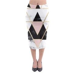 Triangles,gold,black,pink,marbles,collage,modern,trendy,cute,decorative, Midi Pencil Skirt by 8fugoso