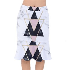 Triangles,gold,black,pink,marbles,collage,modern,trendy,cute,decorative, Mermaid Skirt by 8fugoso