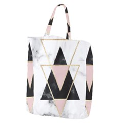 Triangles,gold,black,pink,marbles,collage,modern,trendy,cute,decorative, Giant Grocery Zipper Tote by 8fugoso