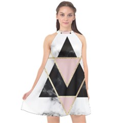 Triangles,gold,black,pink,marbles,collage,modern,trendy,cute,decorative, Halter Neckline Chiffon Dress  by 8fugoso
