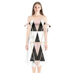 Triangles,gold,black,pink,marbles,collage,modern,trendy,cute,decorative, Shoulder Tie Bardot Midi Dress by 8fugoso