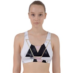 Triangles,gold,black,pink,marbles,collage,modern,trendy,cute,decorative, Back Weave Sports Bra by 8fugoso