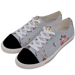 Floral Blue Women s Low Top Canvas Sneakers by 8fugoso