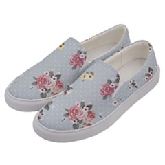 Floral Blue Men s Canvas Slip Ons by 8fugoso