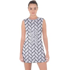 Brick2 Black Marble & White Linen Lace Up Front Bodycon Dress