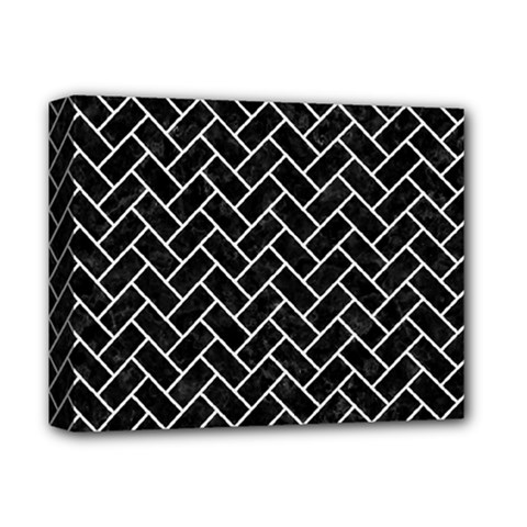 Brick2 Black Marble & White Linen (r) Deluxe Canvas 14  X 11  by trendistuff