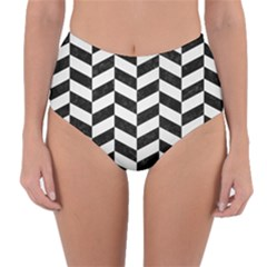 Chevron1 Black Marble & White Linen Reversible High Waist Bikini Bottoms by trendistuff