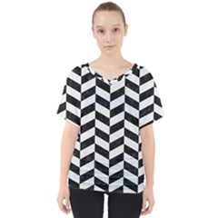 Chevron1 Black Marble & White Linen V Neck Dolman Drape Top by trendistuff