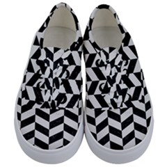 Chevron1 Black Marble & White Linen Kids  Classic Low Top Sneakers