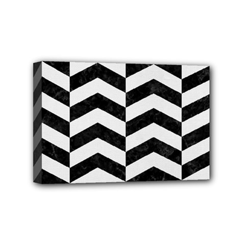 Chevron2 Black Marble & White Linen Mini Canvas 6  X 4  by trendistuff