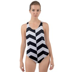 Chevron2 Black Marble & White Linen Cut Out Back One Piece Swimsuit