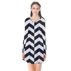 Chevron2 Black Marble & White Linen Flare Dress by trendistuff