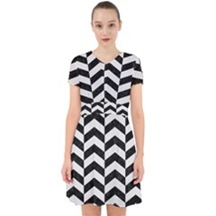Chevron2 Black Marble & White Linen Adorable In Chiffon Dress