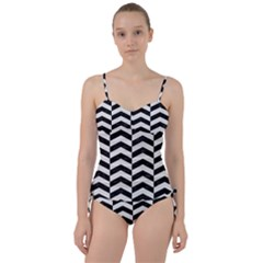 Chevron2 Black Marble & White Linen Sweetheart Tankini Set by trendistuff