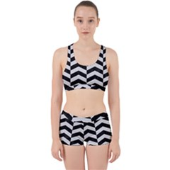 Chevron2 Black Marble & White Linen Work It Out Sports Bra Set by trendistuff