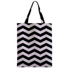 Chevron3 Black Marble & White Linen Zipper Classic Tote Bag by trendistuff