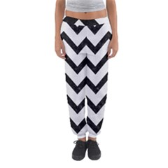 Chevron9 Black Marble & White Linen Women s Jogger Sweatpants by trendistuff